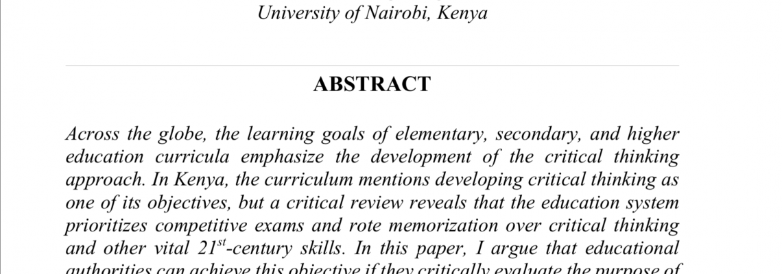 """Critical thinking skill gap in the Kenyan educational curriculum: The 21st-century skills for the Global Citizen"""